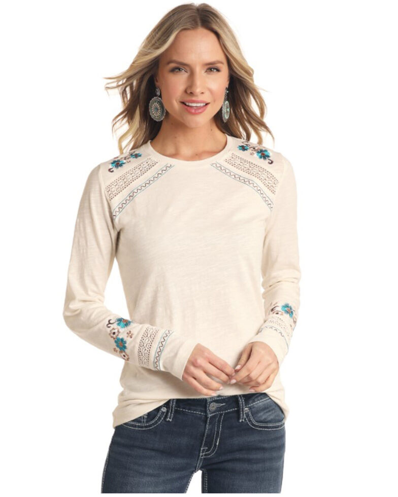 Panhandle Women's White Label Ivy Embroidered Slub Knit Top, Ivory, hi-res