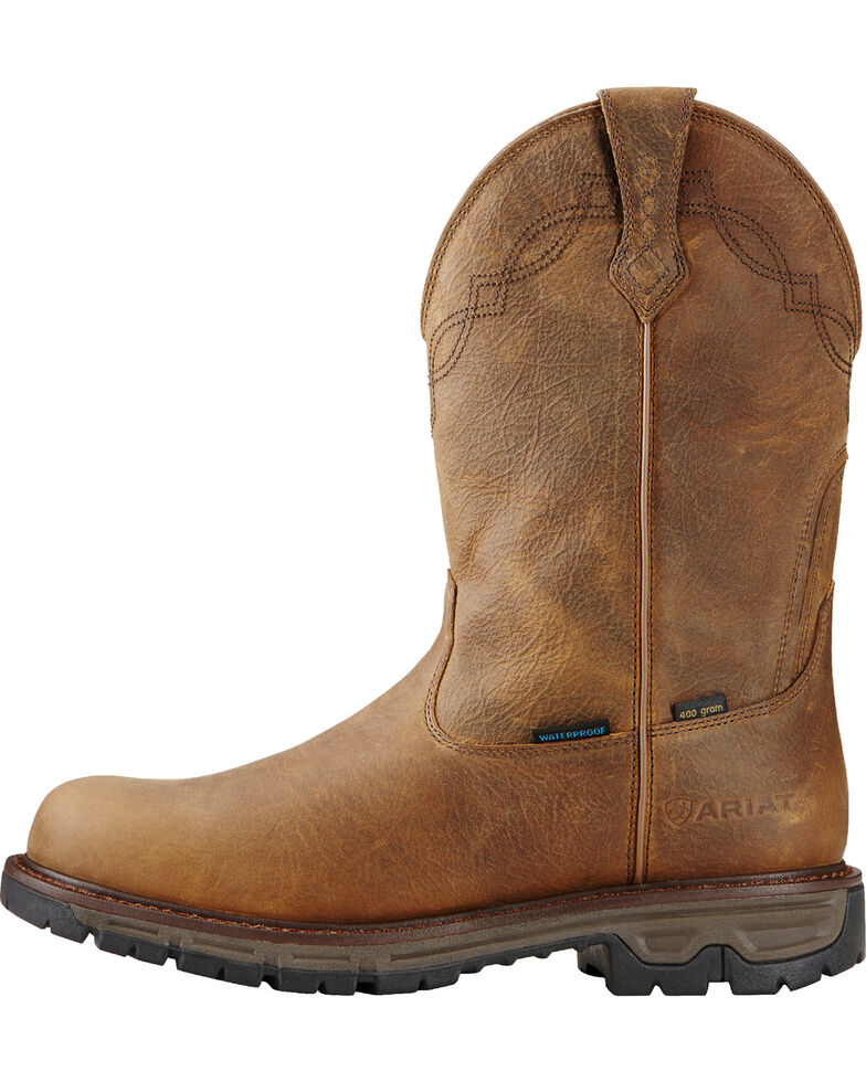 Ariat Men's Insulated Conquest Waterproof Pull-On Hunting Boots, Brown, hi-res