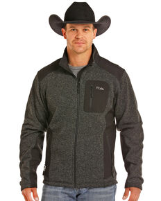 Powder River Outfitters Men's Melange Knit Softshell Jacket, Black, hi-res