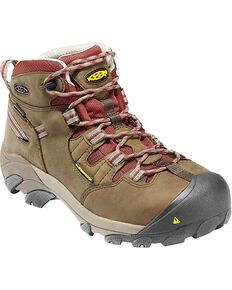 Keen Women's Detroid Mid Steel Toe Lace-up Boots, Olive, hi-res