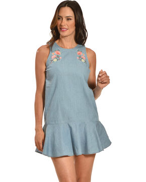 Derek Heart Women's Blue Embroidered Drop Waist Dress , Blue, hi-res