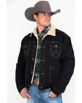 Wrangler Men's Dark Heritage Sherpa Lined Denim Jacket , Black, hi-res