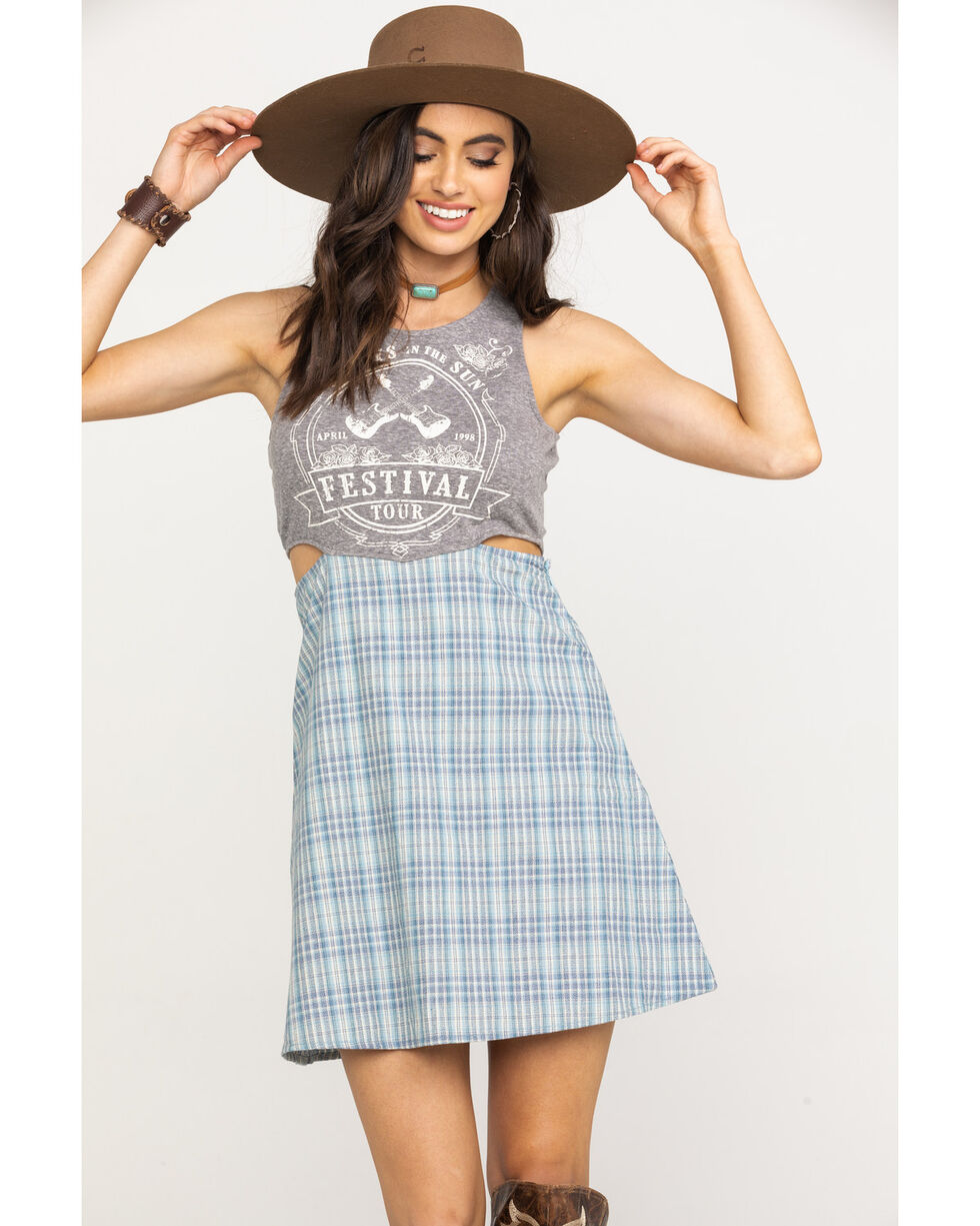 White Crow Women's Grey Festival Tank Plaid Skirt Dress, Blue, hi-res