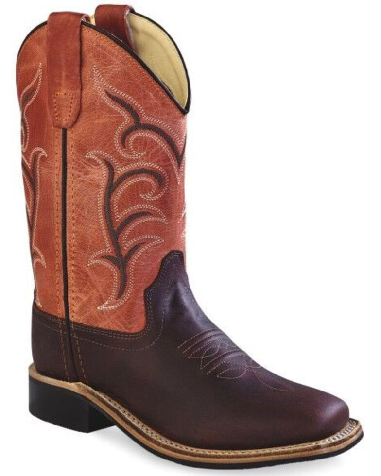 Old West Boys' Embroidered Western Boots - Wide Square Toe, Brown, hi-res