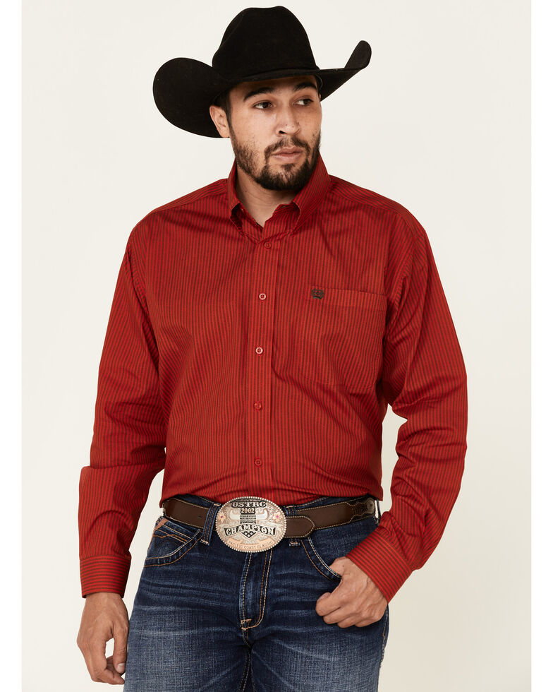 Cinch Men's Red Striped Long Sleeve Western Shirt , White, hi-res