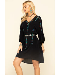 Wrangler Women's Black Embroidered Long Sleeve Hi-Low Dress, Black, hi-res