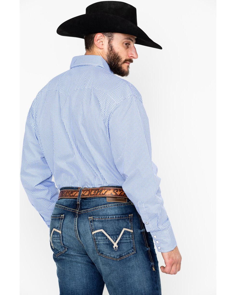 George Strait by Wrangler Men's Troubadour Small Geo Long Sleeve Western Shirt, Blue/white, hi-res