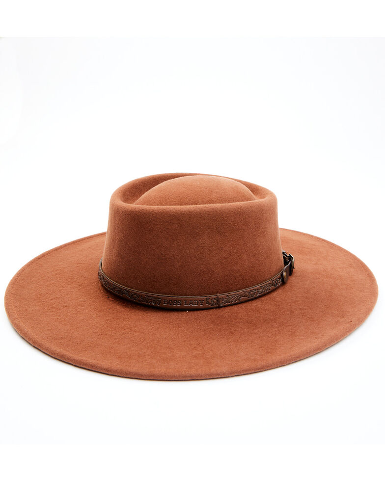 Idyllwind Women's She's A Boss Lady Wool Felt Western Hat , Rust Copper, hi-res