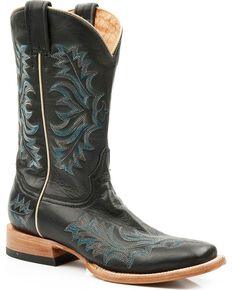 Stetson Women's Embroidered Western Boots, Black, hi-res