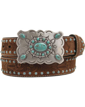 Nocona Distressed Embossed Turquoise Brad Buckle Belt, Med Brown, hi-res
