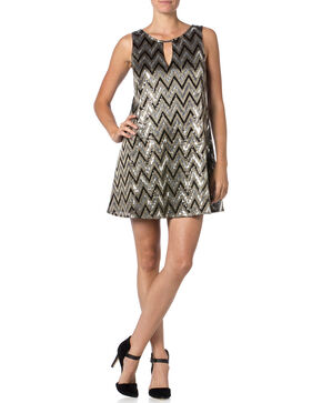 Miss Me Silver and Black Zig-Zag Sequin Dress , Black, hi-res