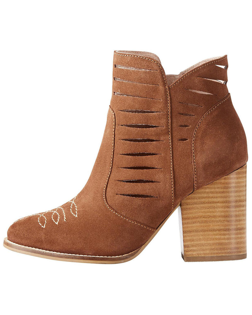 Ariat Women's Brown Unbridled Adriana Suede Booties - Round Toe , Brown, hi-res