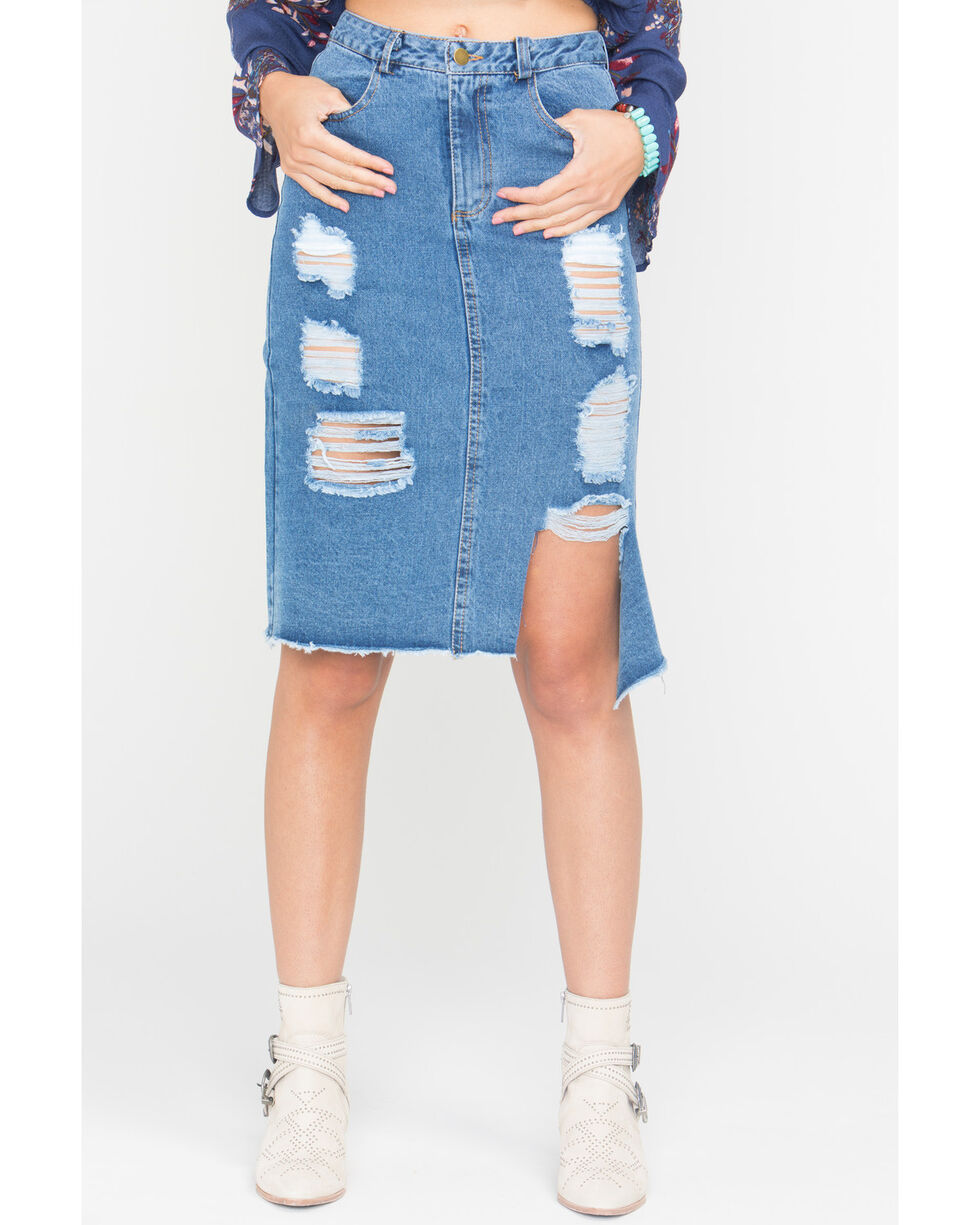 Sage the Label Women's Denim Penelope Skirt , Indigo, hi-res