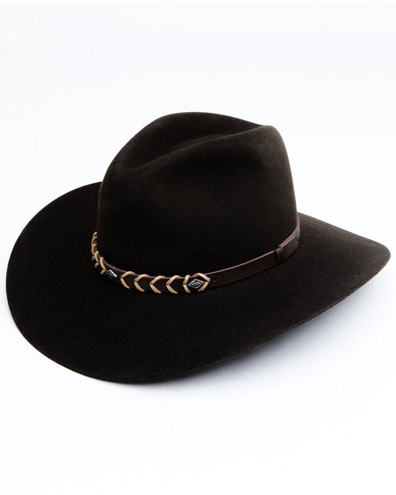Rodeo King 5X Chocolate Tracker Bonded Leather Western Felt Hat, Chocolate, hi-res