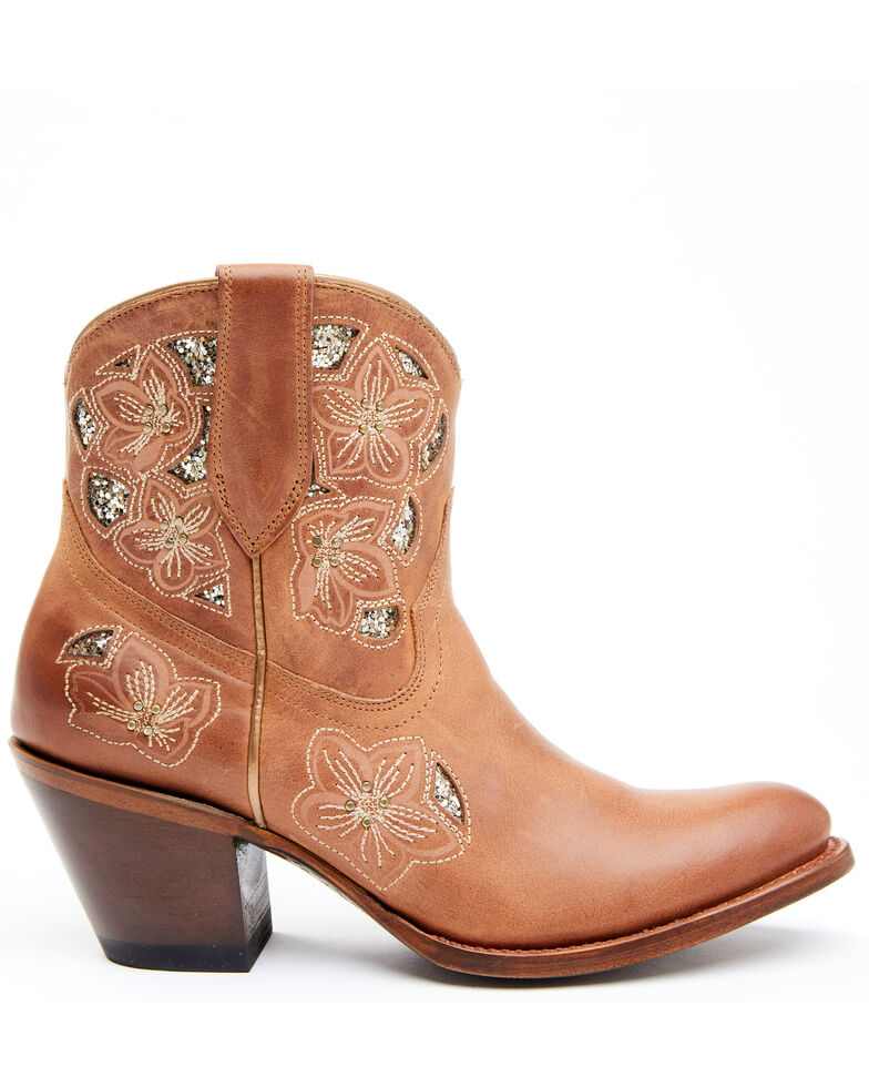 Shyanne Women's Lily Fashion Booties - Round Toe, Cognac, hi-res