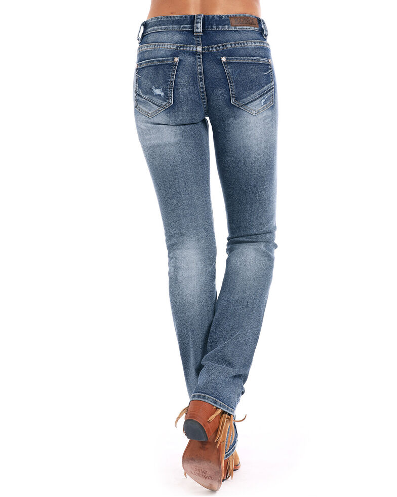 Rock & Roll Cowgirl Women's Mid Rise Extra Stretch Straight Jeans , Indigo, hi-res
