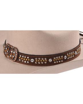 Phunky Horse Women's Horseshoe Leather Hat Band , Chocolate, hi-res