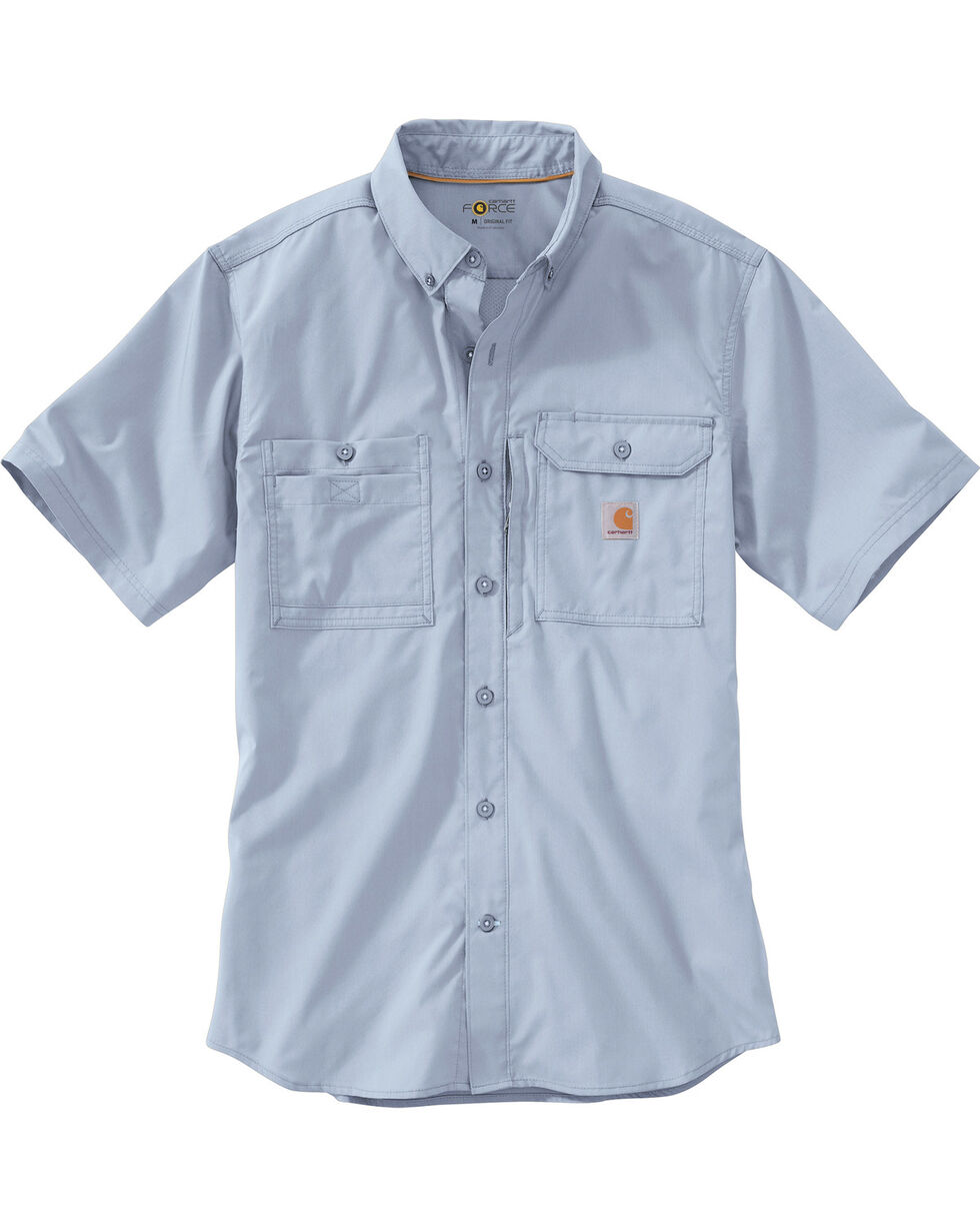 Carhartt Men's Double Pocket Short Sleeve Work Shirt, Light Blue, hi-res