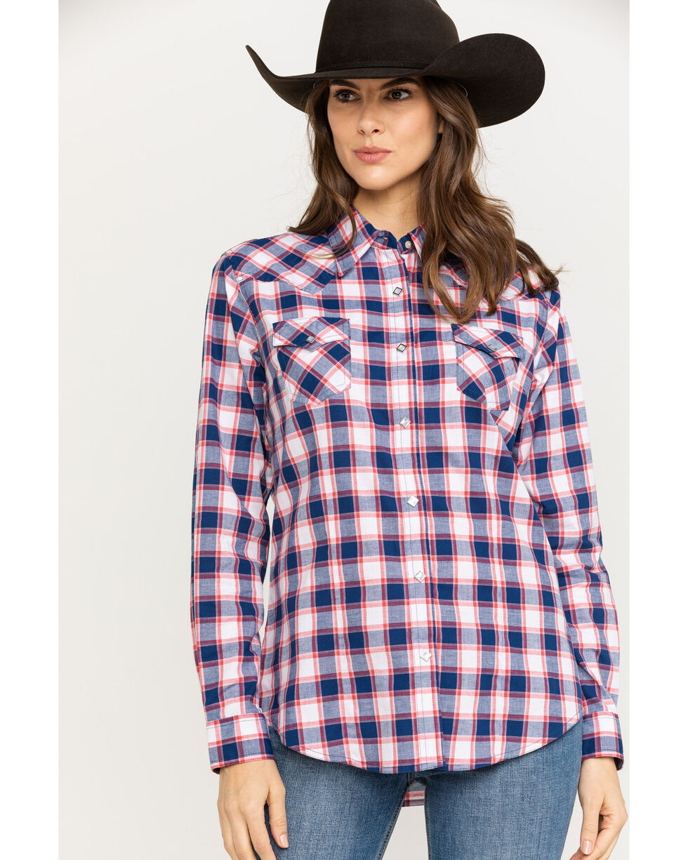 Wrangler Women's Blue & Red Plaid Woven Core Long Sleeve Shirt , Blue/red, hi-res
