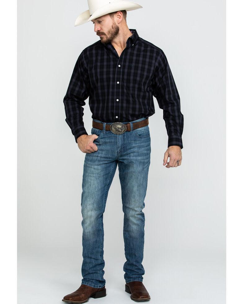 Ariat Men's Wrinkle Free Clayborne Plaid Long Sleeve Western Shirt , Black, hi-res