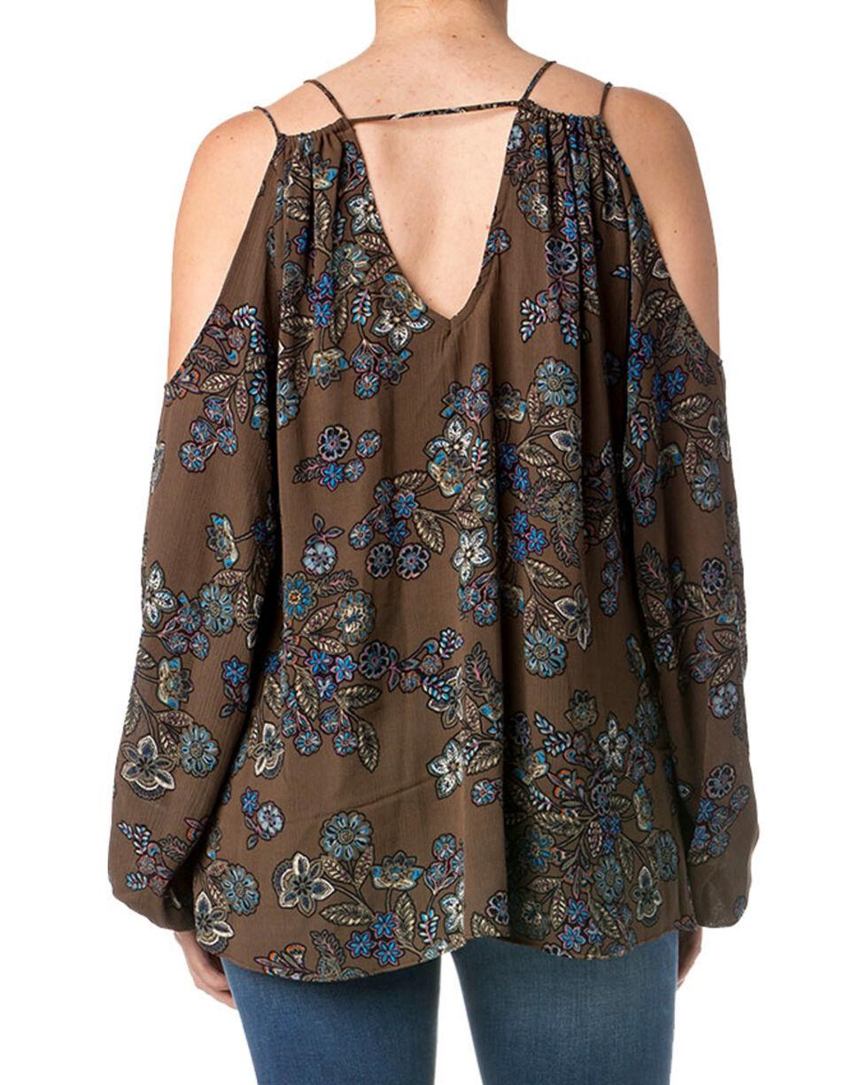 Miss Me Women's Floral Cold Shoulder Long Sleeve Top, Blue, hi-res