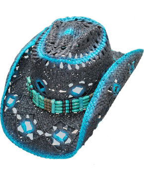 Western Express Women's Blue Straw Hat , Black, hi-res