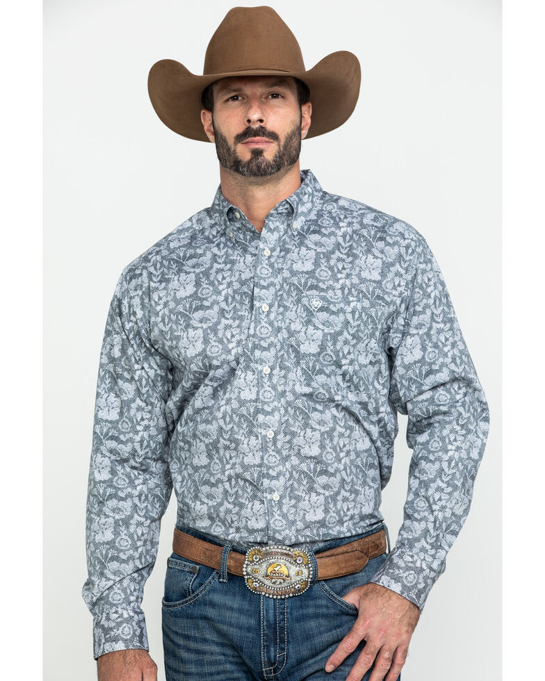 Ariat Men's Fayette Stretch Floral Print Long Sleeve Western Shirt - Tall , Multi, hi-res
