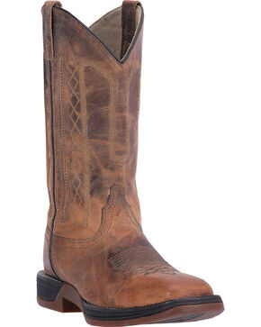Laredo Men's Bennett Broad Square Toe Western Boots, Tan, hi-res
