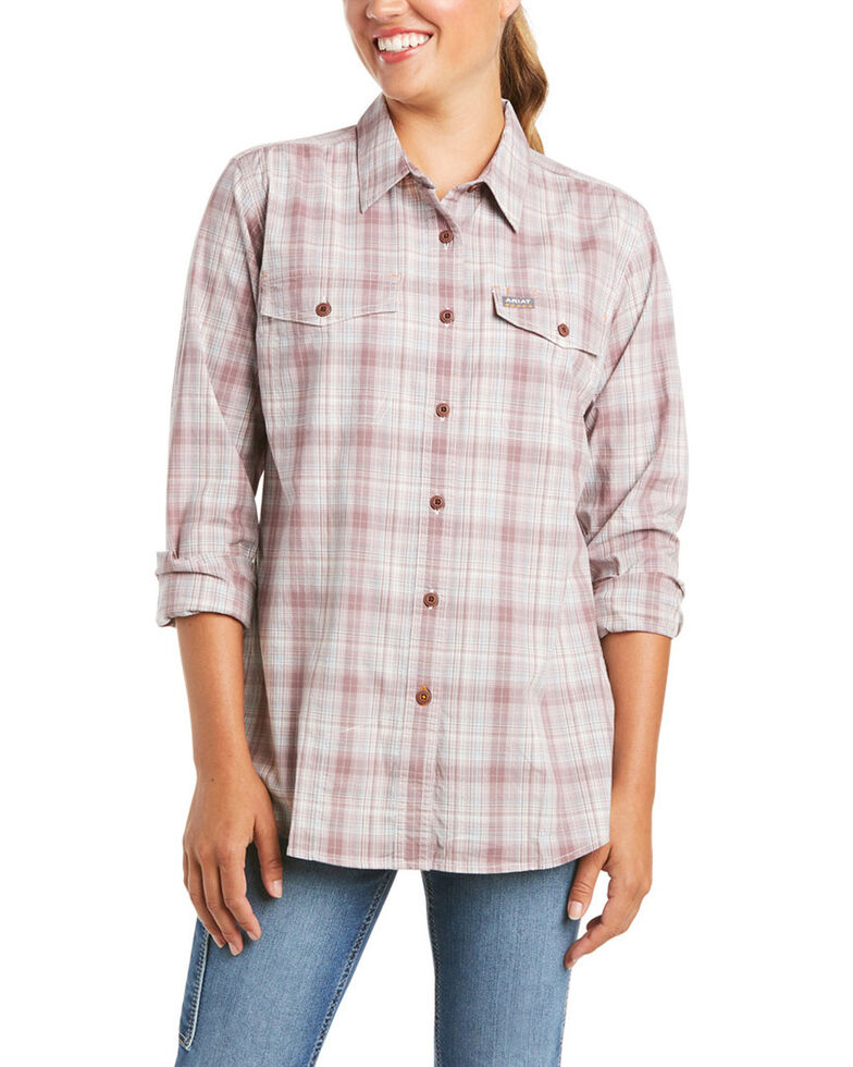 Ariat Women's Grape Plaid Rebar Made Tough Durastretch Long Sleeve Button-Down Work Shirt , Purple, hi-res
