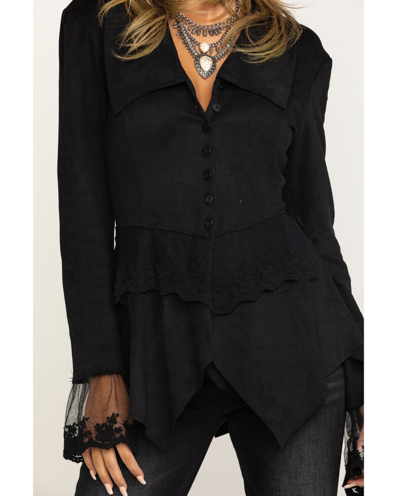 Cripple Creek Women's Black Micro-suede Long Sleeve Button Front Jacket , Black, hi-res