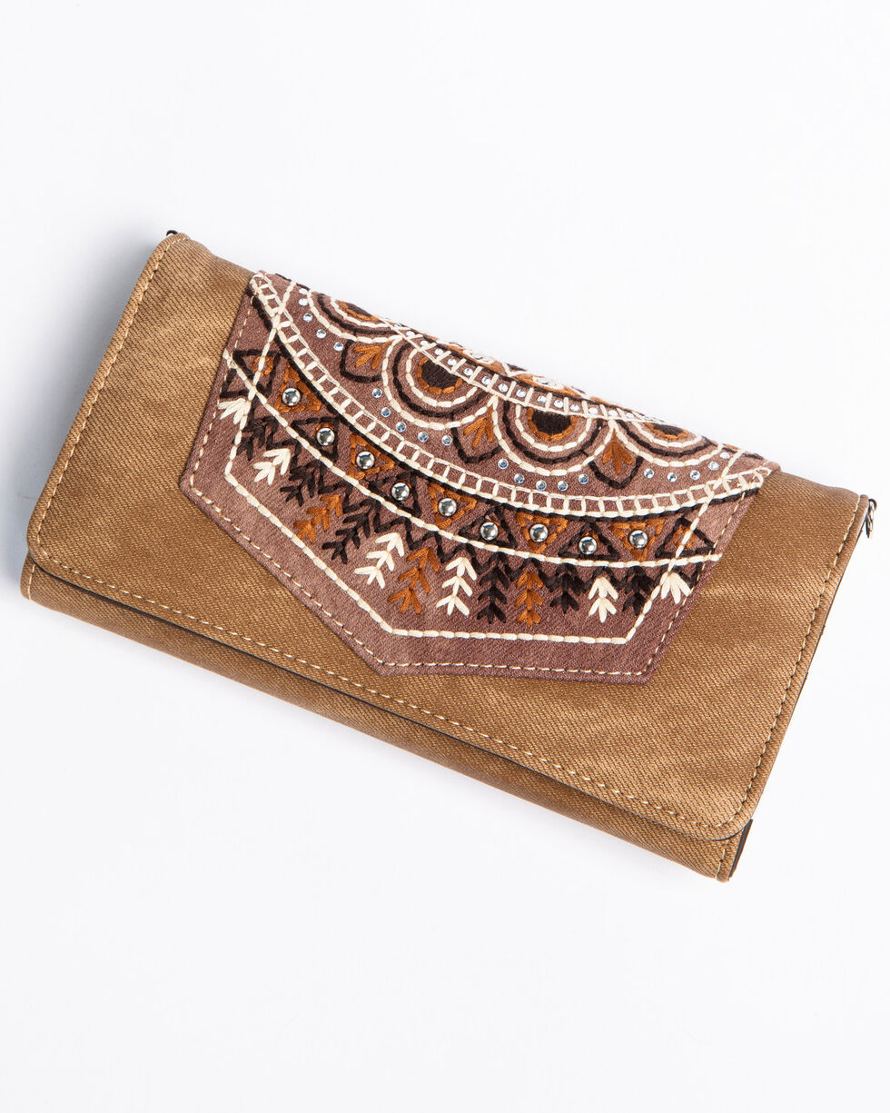 Shyanne Women's Brown Embroidered Pocket Wallet Crossbody, Brown, hi-res