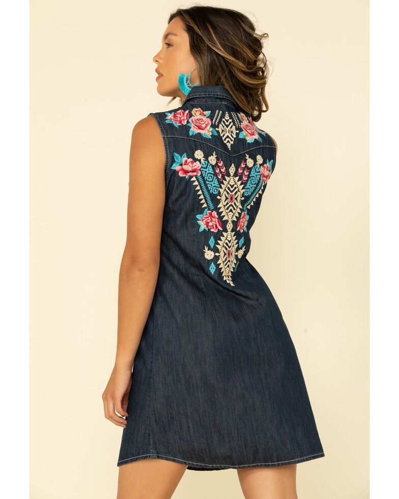 Stetson Women's Denim Embroidered Dress, Blue, hi-res