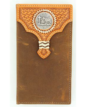 Nocona Basketweave Leather Overlay Cowboy Prayer Concho Rodeo Wallet, Med Brown, hi-res