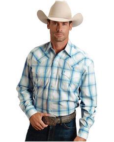 Stetson Men's Blue Double Pane Ombre Plaid Long Sleeve Western Shirt , Blue, hi-res