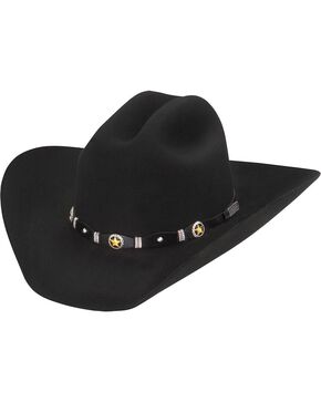 Larry Mahan Black Oplin 3X Wool Felt Cowboy Hat, Black, hi-res
