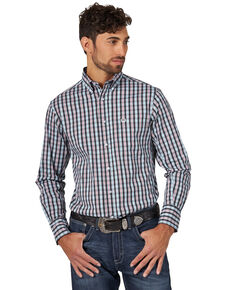 Wrangler 20X Men's Black Plaid Performance Long Sleeve Western Shirt , Black, hi-res