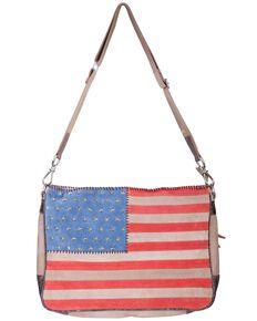 Scully Women's Suede American Flag Crossbody Bag, Patriotic, hi-res