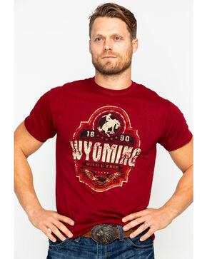 Cowboy Up Men's Wild & Free Short Sleeve T-Shirt, Burgundy, hi-res