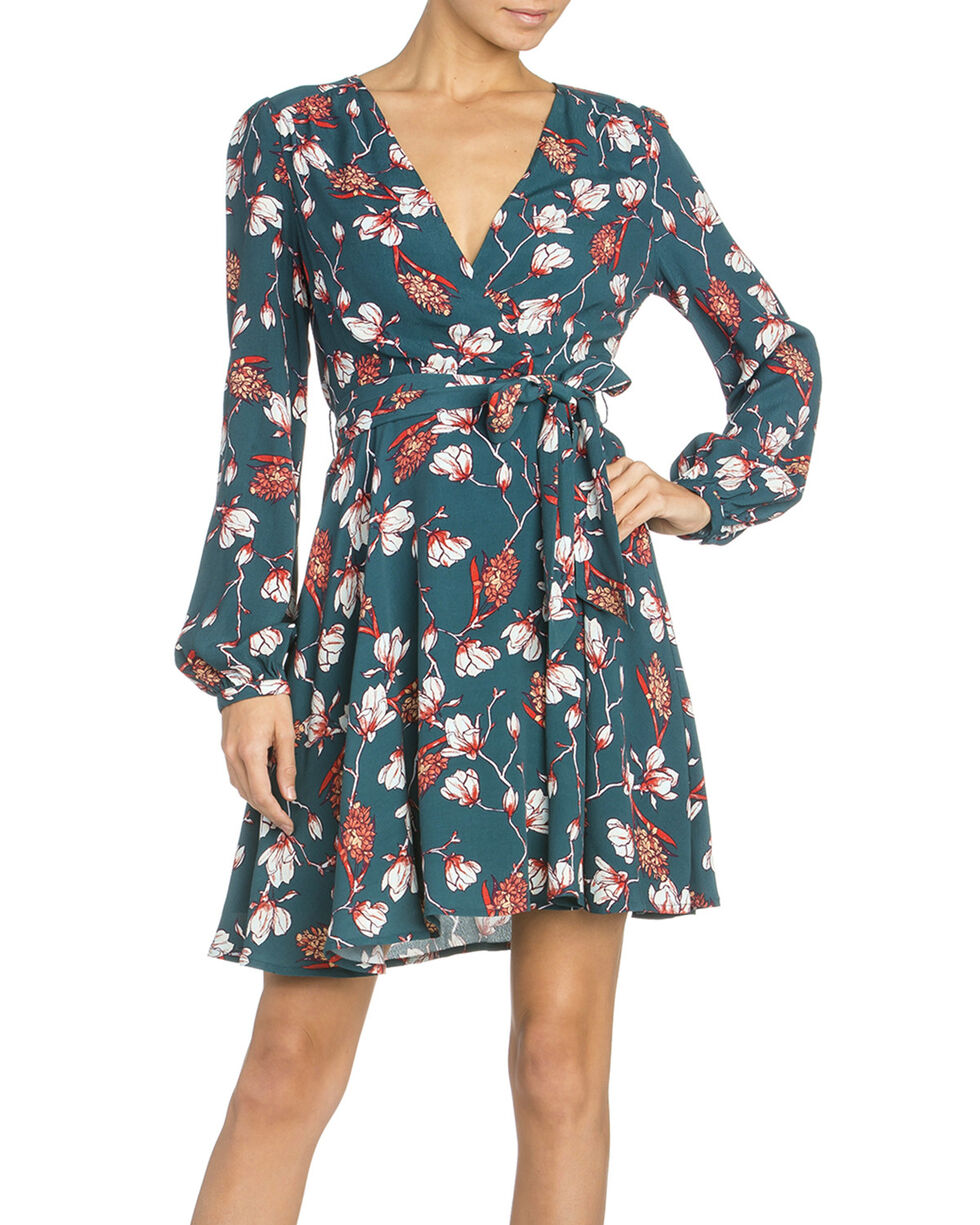 Miss Me Women's Cross Body Floral Dress, Teal, hi-res