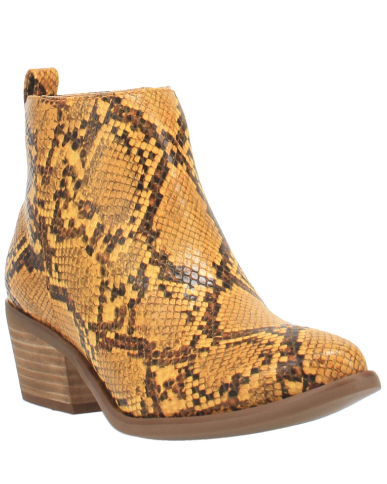 Code West Women's VooDoo Fashion Booties - Round Toe, Yellow, hi-res