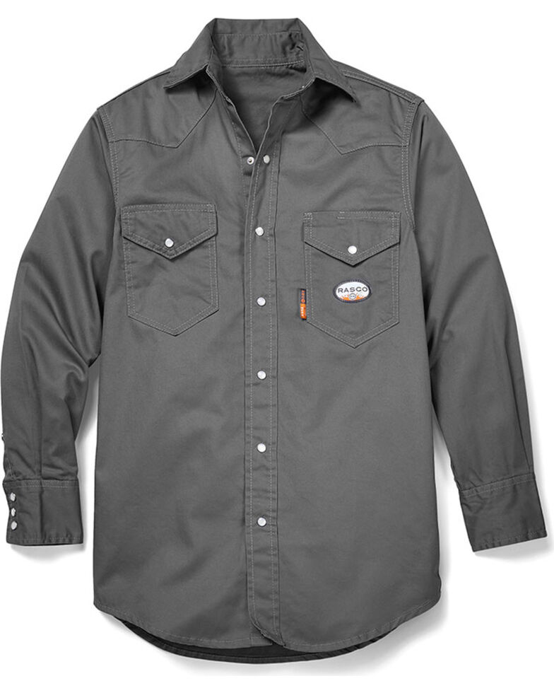 Rasco Men's FR Solid Grey Lightweight Long Sleeve Work Shirt , Grey, hi-res