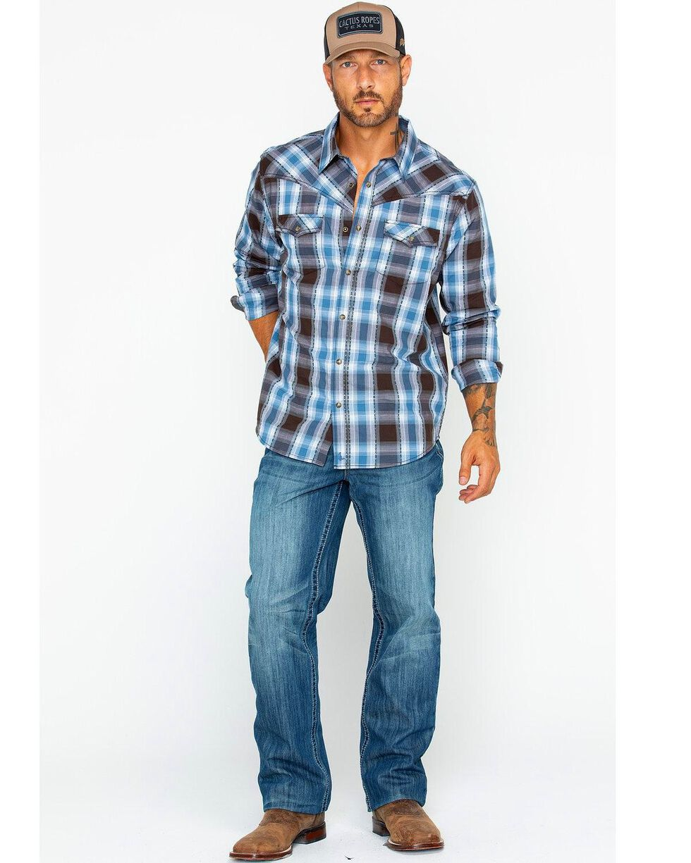 Cody James Men's Basin Dobby Plaid Shirt, Blue, hi-res