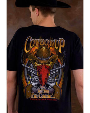 Cowboy Up Men's Skeleton Cowboy Graphic Tee, Black, hi-res