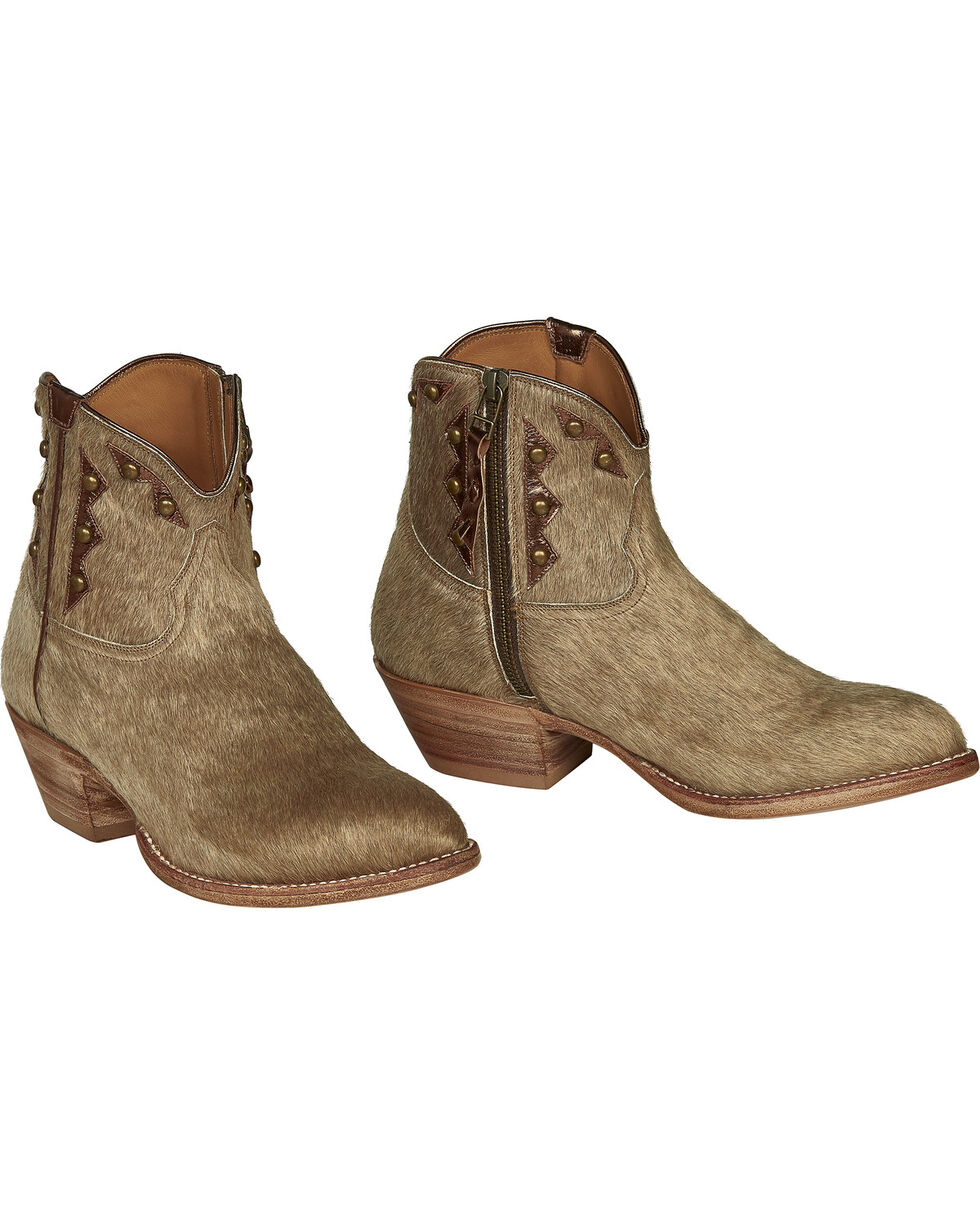 Lucchese Handmade Tan Hair-On Calf Demi Cowgirl Booties - Pointed Toe , Natural, hi-res
