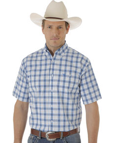 Wrangler 20X Men's Multi Plaid Short Sleeve Western Shirt , Blue, hi-res