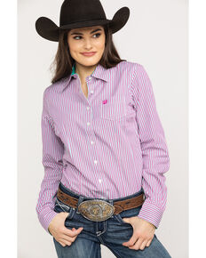 Cinch Women's Purple Stripe Button Core Long Sleeve Western Shirt, Purple, hi-res