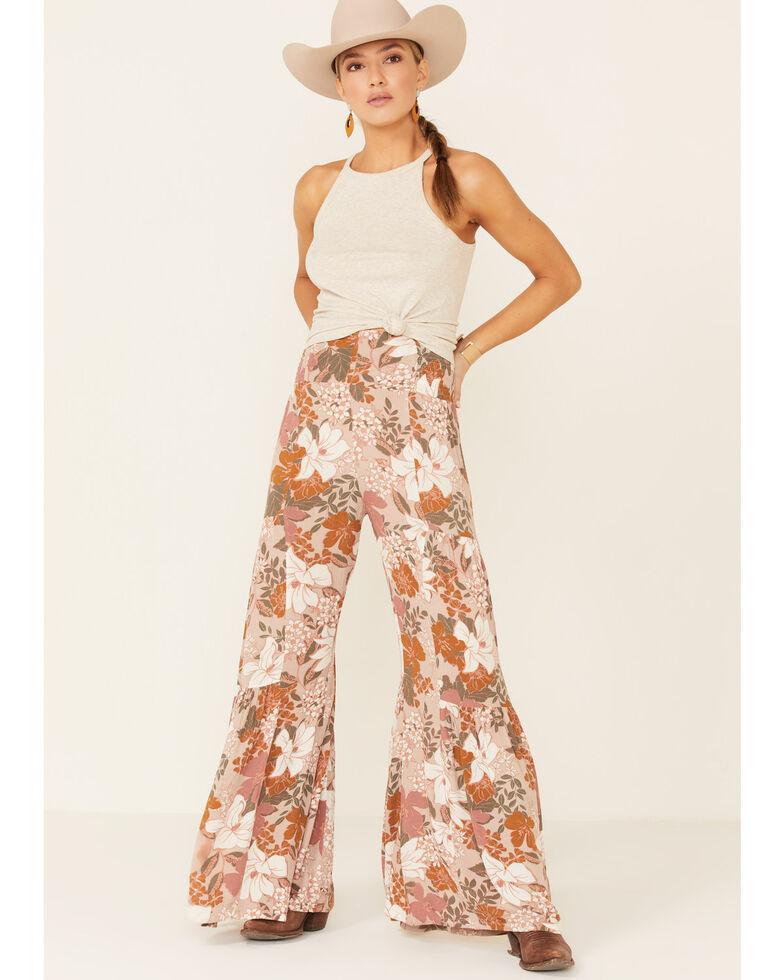 Shyanne Women's Tan Floral Resort Flare Leg Jeans, Tan, hi-res