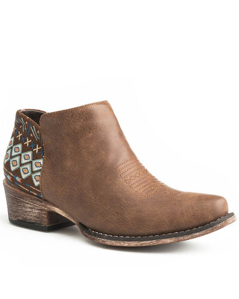 Roper Women's Aztec Counter Fashion Booties - Snip Toe, Brown, hi-res