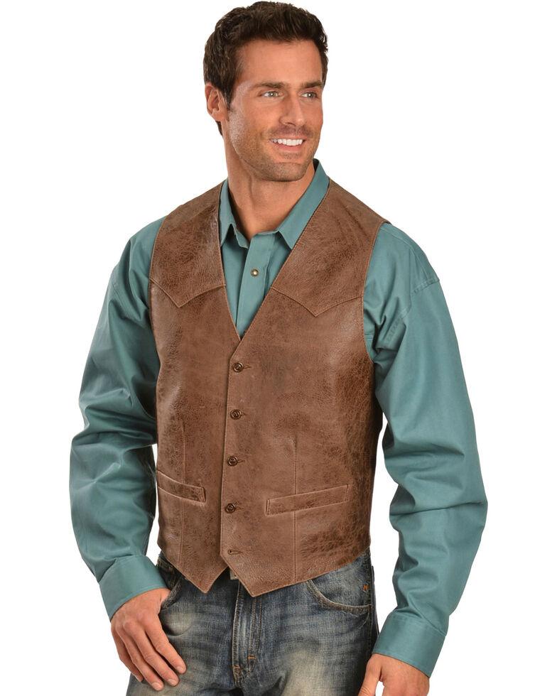 Scully Men's Heavy Lambskin Vest, Brown, hi-res