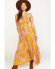 Free People Women's Heat Wave Print Maxi , Dark Yellow, hi-res